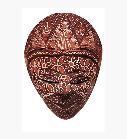 Traditional indonesian mask on a white background Photographic Print