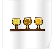 Beer Flight Glass Retro Poster