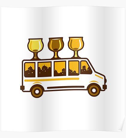Beer Flight Glass Van Retro Poster