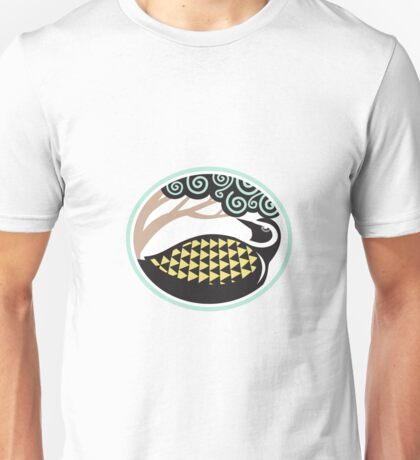 Golden Plover Looking Up Tree Oval Tribal Art Unisex T-Shirt
