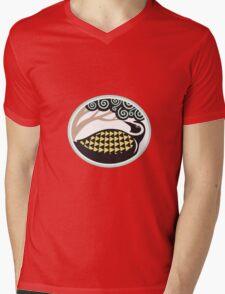 Golden Plover Looking Up Tree Oval Tribal Art Mens V-Neck T-Shirt