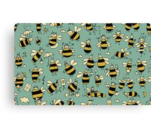 Funny bees, seamless pattern Canvas Print