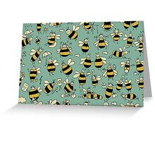 Funny bees, seamless pattern Greeting Card