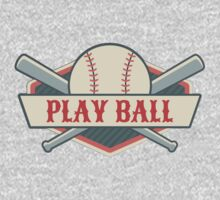Play Ball Retro Vintage Baseball One Piece - Short Sleeve
