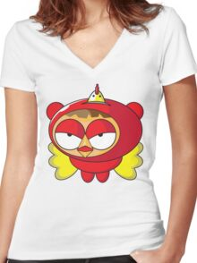 Fun Cartoon SuperHero Chicken Women's Fitted V-Neck T-Shirt