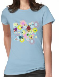 Bees & Flowers Womens Fitted T-Shirt