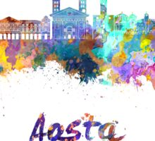 Aosta skyline in watercolor Sticker