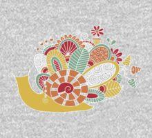 Cute Snail with Flowers & Swirls on Dark Background One Piece - Short Sleeve
