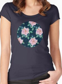 Simple Pink Rose Oil Painting Pattern Women's Fitted Scoop T-Shirt
