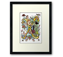 """The Illustrated Alphabet Capital  X  """"Getting personal"""" Framed Print"""