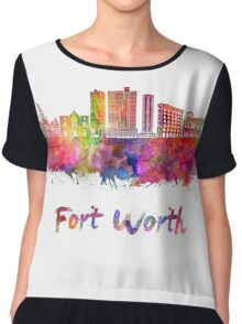 Fort Worth skyline in watercolor Chiffon Top