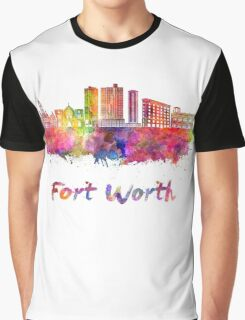 Fort Worth skyline in watercolor Graphic T-Shirt