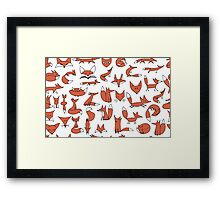 Cute foxes seamless pattern Framed Print