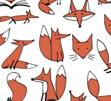 Cute foxes seamless pattern Sticker