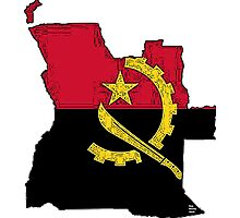 Angola Map With Angolan Flag Photographic Print