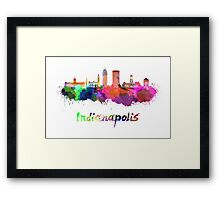 Indianapolis skyline in watercolor Framed Print