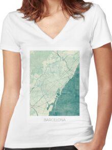 Barcelona Map Blue Vintage Women's Fitted V-Neck T-Shirt