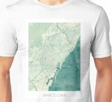Barcelona Map Blue Vintage Unisex T-Shirt