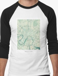 Moscow Map Blue Vintage Men's Baseball ¾ T-Shirt
