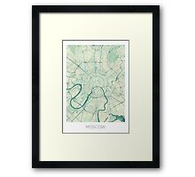 Moscow Map Blue Vintage Framed Print