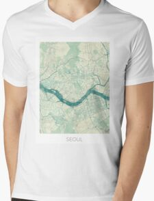 Seoul Map Blue Vintage Mens V-Neck T-Shirt