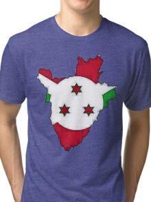 Burundi Map With Flag Tri-blend T-Shirt