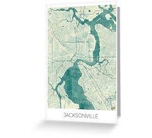 Jacksonville Map Blue Vintage Greeting Card