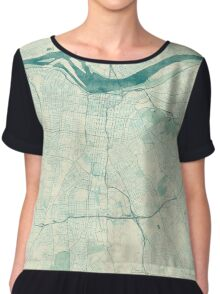 Louisville Map Blue Vintage Chiffon Top