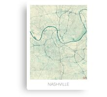 Nashville Map Blue Vintage Canvas Print