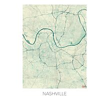 Nashville Map Blue Vintage Photographic Print