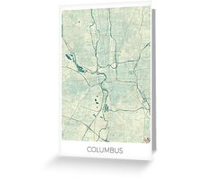 Columbus Map Blue Vintage Greeting Card