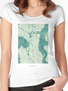 Seattle Map Blue Vintage Women's Fitted Scoop T-Shirt