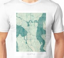 Seattle Map Blue Vintage Unisex T-Shirt