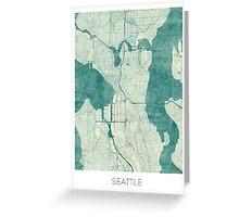 Seattle Map Blue Vintage Greeting Card