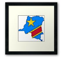 Democratic Republic of the Congo Zaire Map With Flag Framed Print