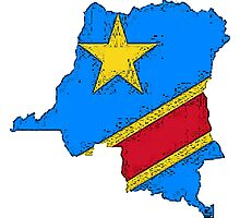 Democratic Republic of the Congo Zaire Map With Flag Photographic Print