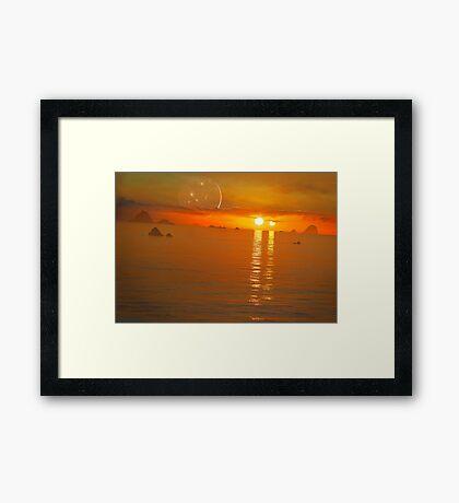Binary Sunset Framed Print