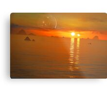 Binary Sunset Metal Print