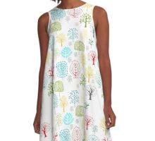 Seamless pattern with trees A-Line Dress