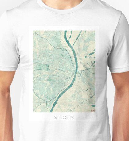 St. Louis Map Blue Vintage Unisex T-Shirt