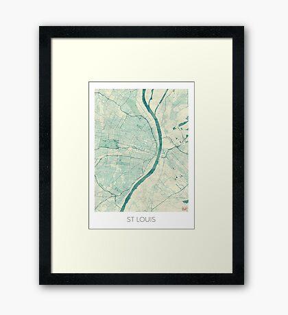 St. Louis Map Blue Vintage Framed Print