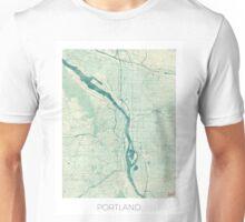 Portland Map Blue Vintage Unisex T-Shirt