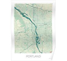 Portland Map Blue Vintage Poster