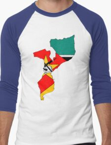 Mozambique Map With Mozambique Flag Men's Baseball ¾ T-Shirt