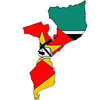 Mozambique Map With Mozambique Flag Photographic Print