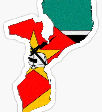 Mozambique Map With Mozambique Flag Sticker