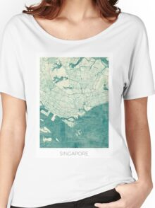 Singapore Map Blue Vintage Women's Relaxed Fit T-Shirt