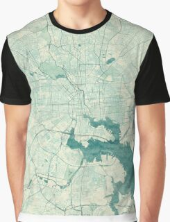Baltimore Map Blue Vintage Graphic T-Shirt