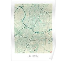 Austin Map Blue Vintage Poster