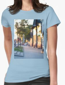 Blurred and out of focus image of streets Womens Fitted T-Shirt